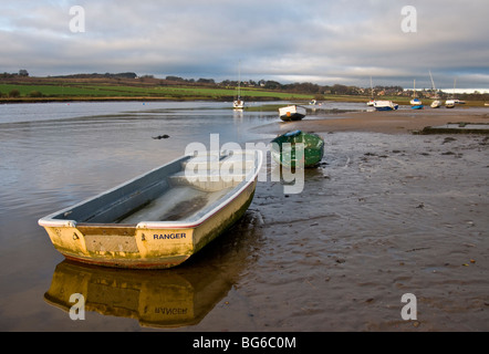 Moored Boats Alnmouth River Aln Esturay Northumberland England  SCO 5592 - Stock Photo