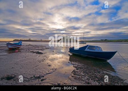 Moored Boats Alnmouth River Aln Esturay Northumberland England  SCO 5593 - Stock Photo