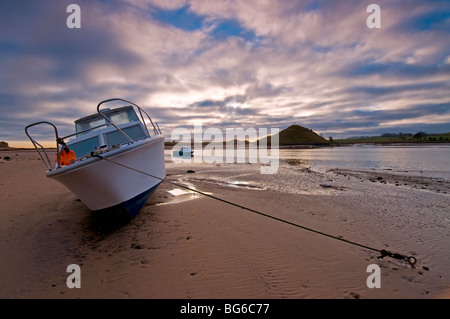Moored Boat Alnmouth River Aln Esturay Northumberland England   SCO 5594 - Stock Photo