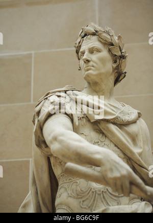 Statue of Julius Caesar by Nicolas Coustou,  The Louvre Museum, Paris, France - Stock Photo