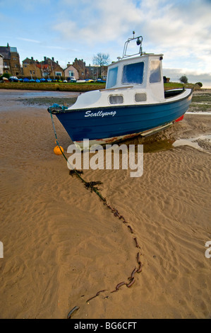 Moored Boat Alnmouth River Aln Esturay Northumberland England  SCO 5595 - Stock Photo