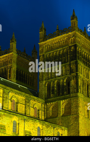 England, County Durham, Durham City. Detail of the towers of Durham Cathedral. - Stock Photo