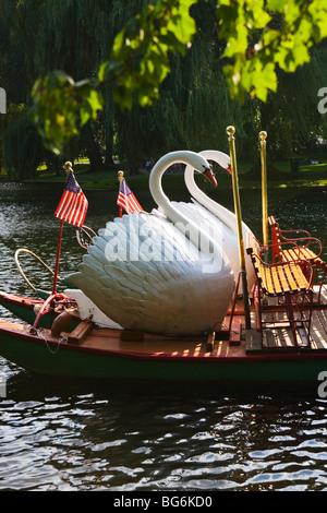 Swan Boats in Boston Public Garden - Stock Photo