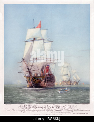 The ship HMS Victory 'Man of War' 1778 in full sail on calm waters.  Lord Nelson's flagship at the Battle of Trafalgar. - Stock Photo