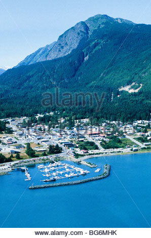 Alaska. Haines. Aerial view of shore of Chilcoot Inlet on the Marine Highway. - Stock Photo