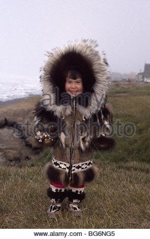 Inupiat Eskimo girl in Traditional Parka Barrow AK Stock Photo ...