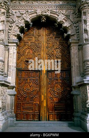 Mexican Baroque, Churrigueresque, facade, El Carmen Church, Roman Catholic church, Catholic church, Roman Catholicism, - Stock Photo