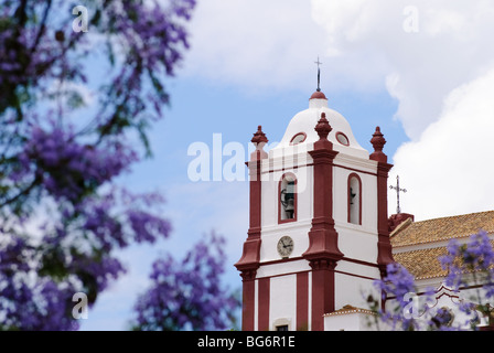 View of the bell tower of Silves Cathderal - Sé Catedral de Silves - Stock Photo