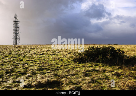 Autumn view of telecommunications mast before a rain storm on the summit of Butser Hill, near Portsmouth, Hampshire - Stock Photo