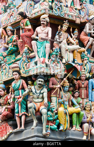 Sri Mariamman Hindu Temple, Chinatown, Singapore - Stock Photo