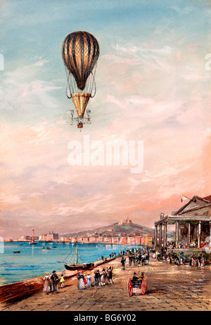 Balloon with parachute and propellers  flying over a town harbor and spectators, during an ascent in Italy between - Stock Photo