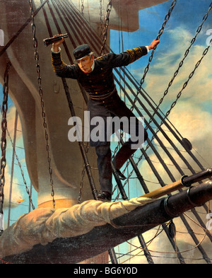 Lashed to the shrouds--Farragut passing the forts at Mobile, in his flagship Hartford, during the Battle of Mobile - Stock Photo