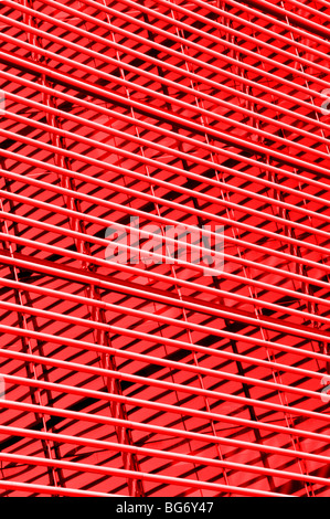 Lines on outside of London office modern building as abstract pattern picture using manipulated colours England - Stock Photo