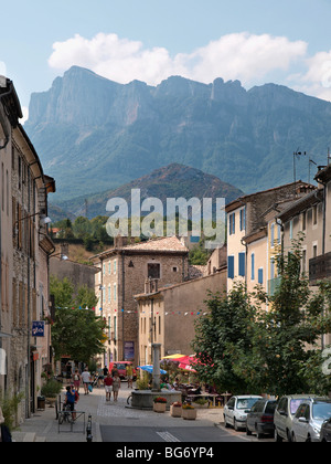 Saillans village view in holidays, Drome - Stock Photo