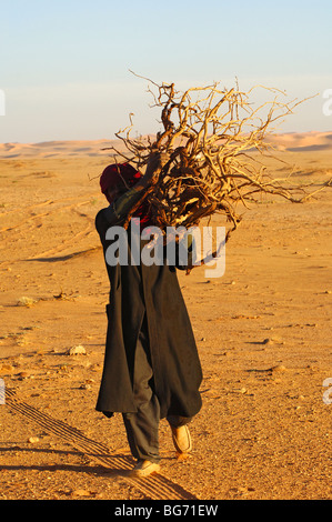 Male Bedouin collecting firewood in the Sahara desert, LIbya - Stock Photo