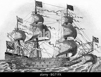 This English warship belonged to the class known as ship-of-the-line, a fighting tactic used at the time (1600s - Stock Photo