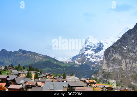 View from Murren, Switzerland - Stock Photo