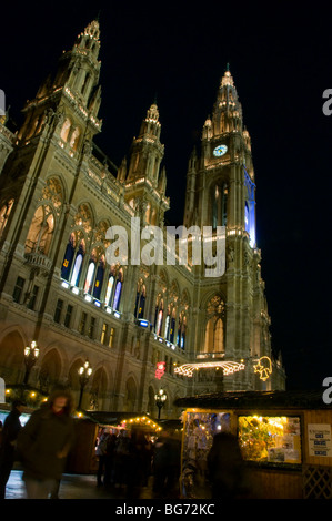The Christmas market held at the Rathaus (Town Hall) in Vienna, Austria - Stock Photo