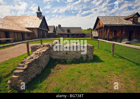 Old stone wall at the entrance to the Sainte-Marie among the Hurons complex in the town of Midland, Ontario, Canada. - Stock Photo