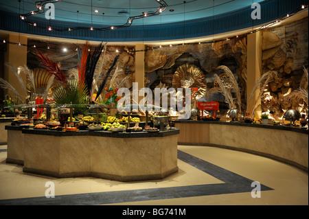 Main restaurant serving area of 'Hilton Nuweiba Coral Resort', Nuweiba, Sinai, Egypt - Stock Photo