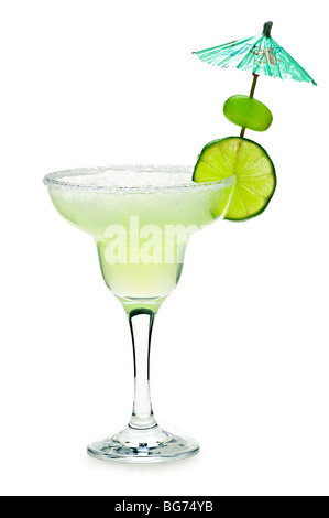Margarita in glass with lime isolated on white background - Stock Photo