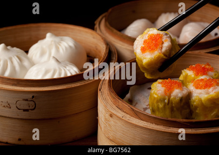 Dim sum dumplings served at Lung Chinese Fusion restaurant at the Grand Canal Shops, Venetian Macau, Cotai, Macau - Stock Photo
