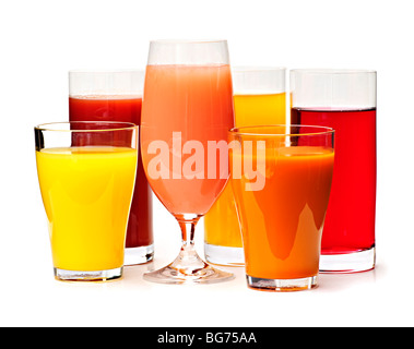 Various glasses of juices isolated on white background - Stock Photo