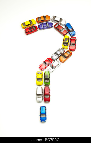 Model Cars in Question Mark Shape - Stock Photo