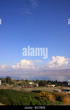 Israel, Lower Galilee, a view of the Sea of Galilee from Mount Poriya - Stock Photo