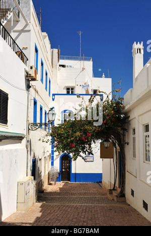 Typical shady backstreet in the Old Town area of Albufeira on the Algarve in Portugal - Stock Photo