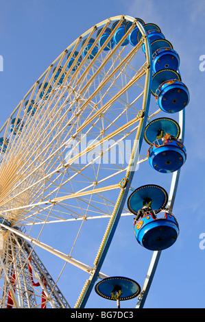 Lille, Pas de Calais, Flanders, France. Big ferris wheel in the Christmas market (50m high) - Stock Photo