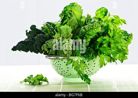 Dark green leafy fresh vegetables in metal colander - Stock Photo