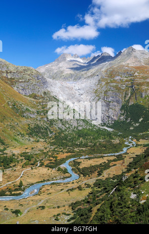 View onto the Rhone Glacier (Rohnegletscher) as seen from a hill above the village of Gletsch, Valais, Switzerland. - Stock Photo