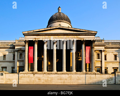 Entrance to National Gallery building in London England - Stock Photo