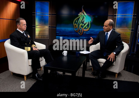 Staff Navy Adm. Mike Mullen interviewed by Abderrahim Fouka, of the Al Jazeera television network. - Stock Photo