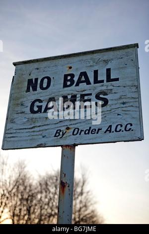 No Ball Games Sign - Stock Photo