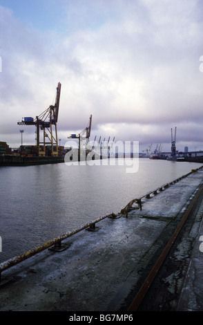 Dec 13, 2009 - View of Kronprinzkai (with Tollerort container terminal at the far end) in the German port of Hamburg. - Stock Photo