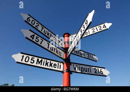 Finland, Region of Southern Savonia, Saimaa Lake District, Savonlinna, Sign with Distances to Finnish Cities - Stock Photo