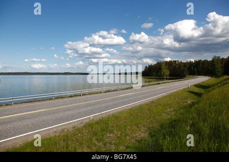 Finland Region of Southern Savonia Savonlinna Punkaharju Nature Reserve Saimaa Lake District Lake Puruvesi Highway - Stock Photo
