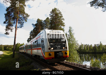 Finland, Region of Southern Savonia, Savonlinna, Punkaharju Nature Reserve, Saimaa Lake District, Local Train - Stock Photo