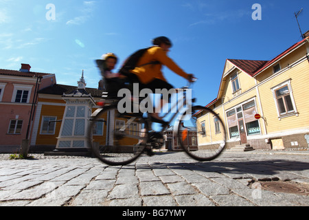 Finland Region of Satakunta Rauma Old Town Wooden House Quarter Historic Cobblestone Street and Housing in Old Town - Stock Photo