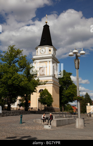 Finland, Region of Pirkanmaa, Tampere, City, Central Square, Neoclassical Old Church Bell Tower, Old Clock - Stock Photo