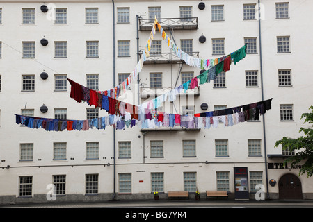 Finland, Region of Pirkanmaa, Tampere, City, Apartment Building, Washing, Washed Clothes Drying - Stock Photo