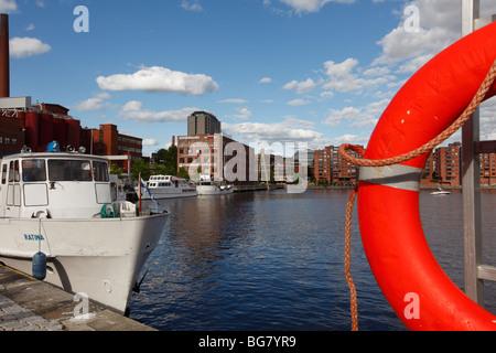 Finland Region of Pirkanmaa Tampere City Laukontori Market Square Ratinansuvanto Tourist Cruise Ship Life Saving - Stock Photo