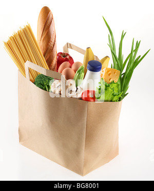 paper bag with food on a white background - Stock Photo