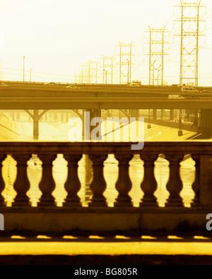 Bridges over the Los Angeles River, Los Angeles, California, California. - Stock Photo