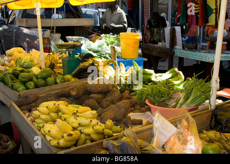 Colorful Local Fruit and Vegetable Stall in the Spice Market, Saint George's, Grenada, West Indies. - Stock Photo