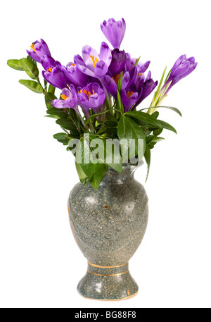 Spring holiday crocus flowers in vase on light background. - Stock Photo