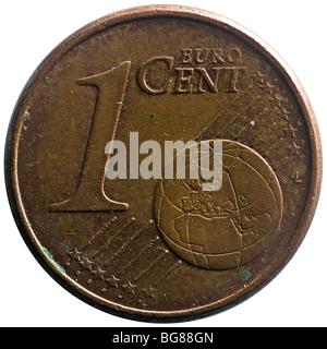 A high-definition photograph of an old one cent Euro coin. Macrophotographie d'une vieille pièce d'un centime d'euro. - Stock Photo