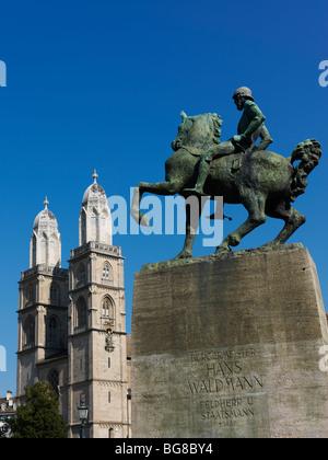 Switzerland, Zurich,statue of Hans Waldmann (1435 - 6 April 1489) AD was mayor of Zurich and Swiss military leader - Stock Photo